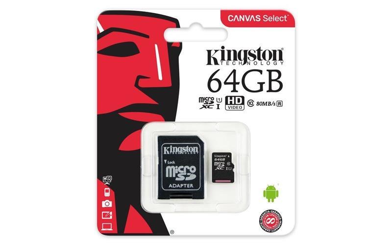 MEMORIA MICROSD 64 GB CLASE 10 CANVAS SELECT KINGSTON